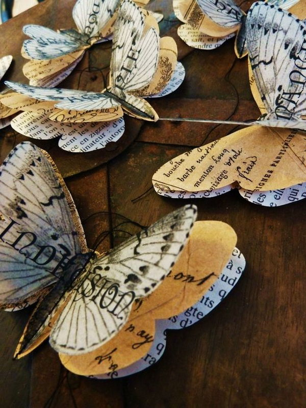 18  Recycled Vintage Book Pages Butterflies
