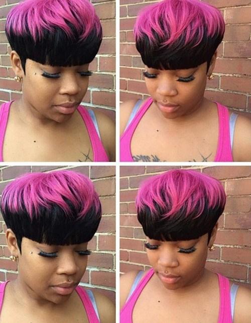 18 short black twotone hair
