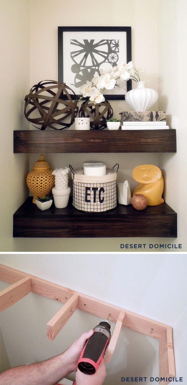 19 DIY $15 Wooden Floating Shelves Above The Toilet