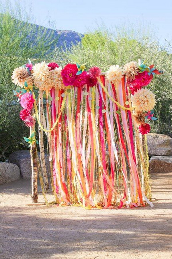 19 Great Ribbon And Flower Photo Booth Backdrop & 64 Budget Friendly Photo Booth Backdrop Ideas And Tutorials u2013 Page ...