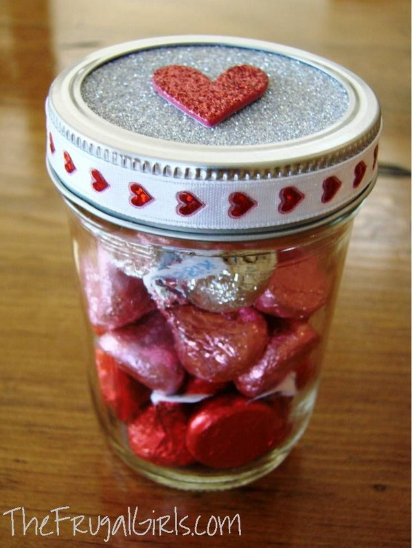 19 Hershey's Kisses in the Jar with Glitter Heart on Top