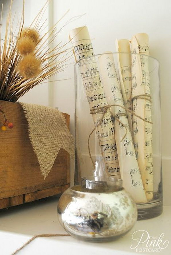 19 Hurricane Vase with Rolled Music Sheet