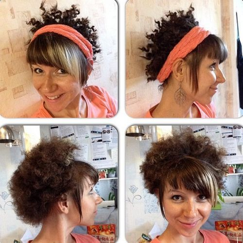 19 short curly hairstyle with a headband and bangs