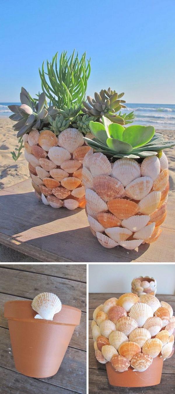 2 DIY Seashell Planter