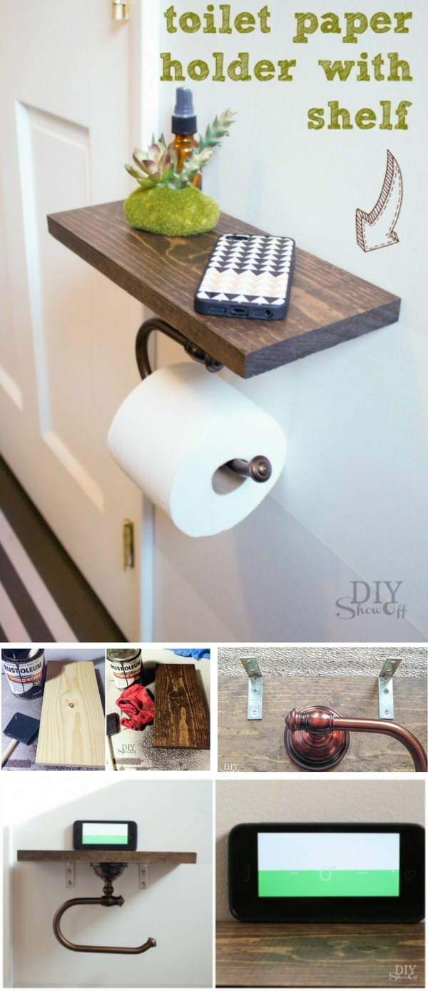 2 DIY Toilet Paper Holder with Shelf
