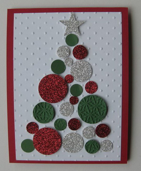 2 glitter christmas tree diy card