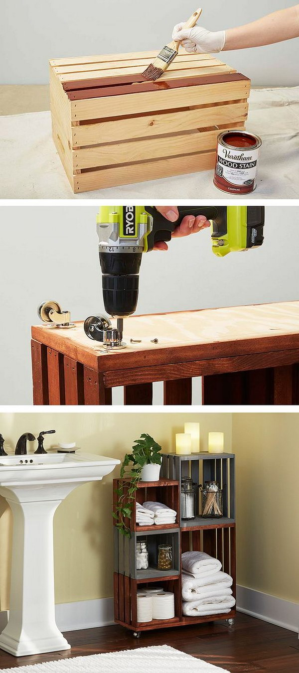 2 Turn Ordinary Wooden Crates Into Cool Bathroom Storage On Wheels