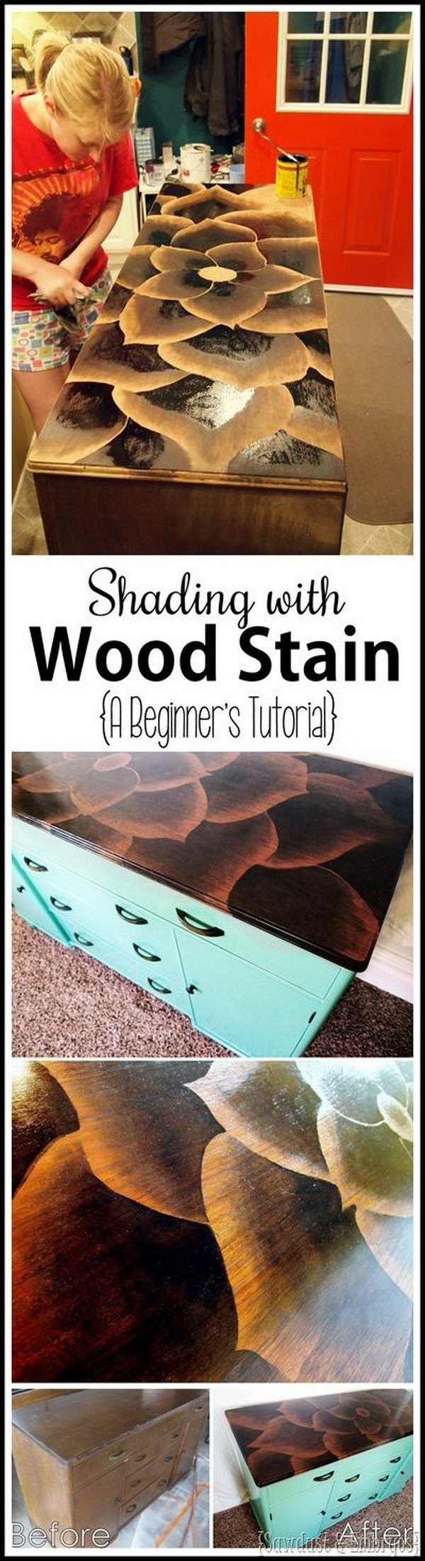 2 Using Stain To Make Artwork on Furniture
