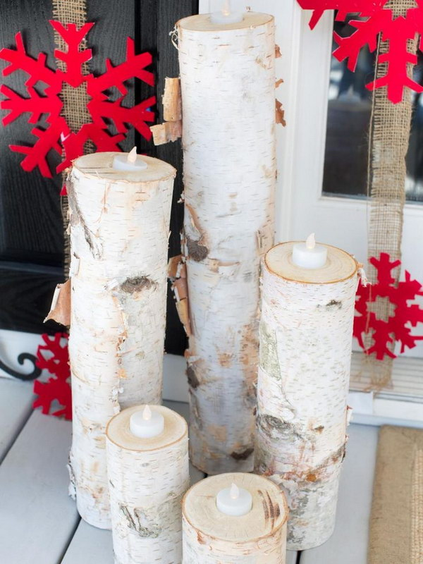 2 Wooden Christmas Candles with Red Snowflakes