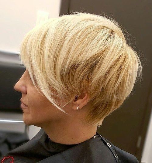 2 blonde pixie with angled bangs