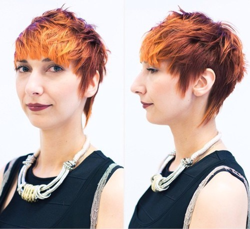 2 fire hued haircut