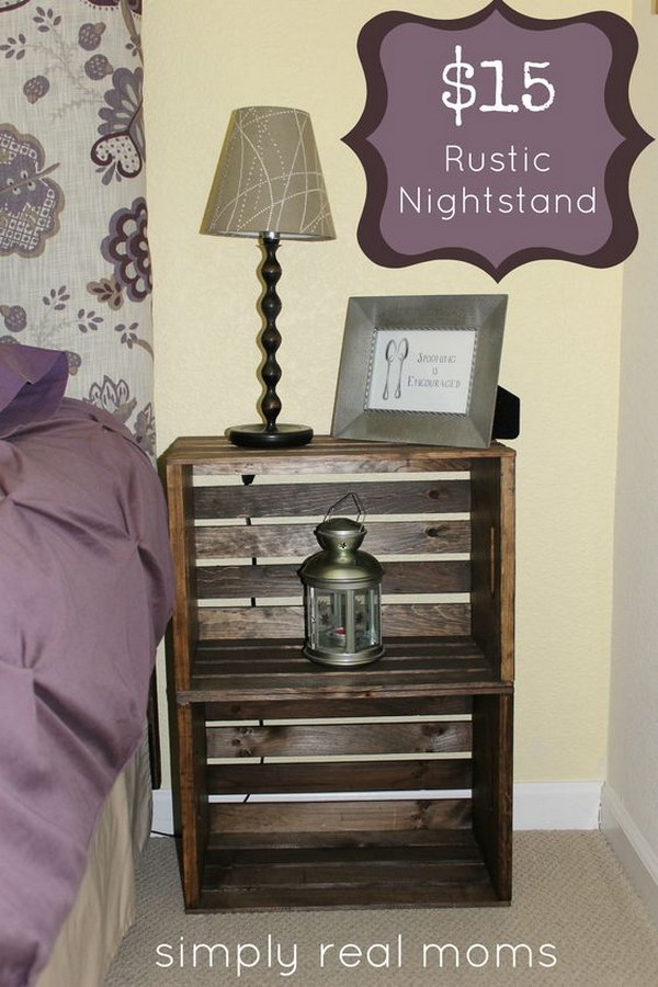 20 DIY Rustic Crate Nightstand for $15 or Less