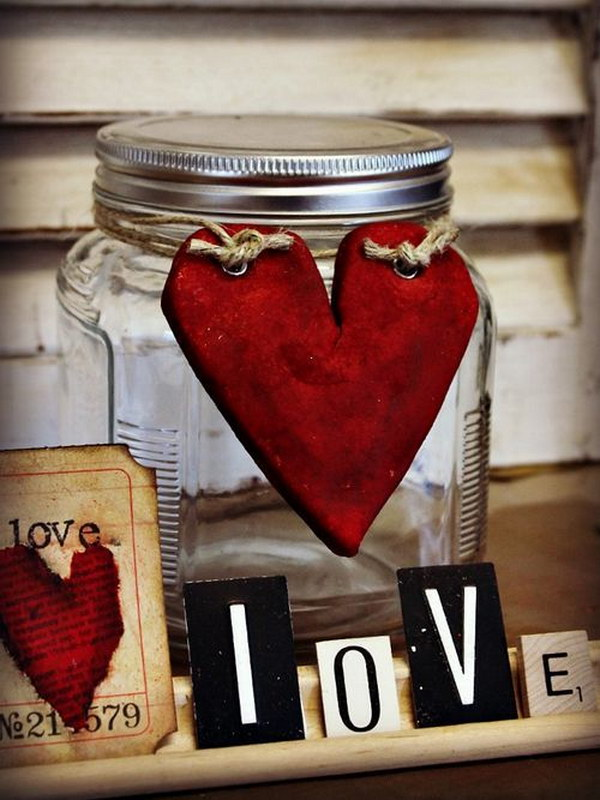 20 Salt Dough Heart Decorated Mason Jar