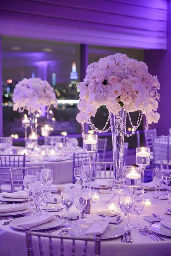 44 awesome diy wedding centerpiece ideas tutorials page 20 20 tall wedding centerpiece with crystals and silk flowers junglespirit Image collections