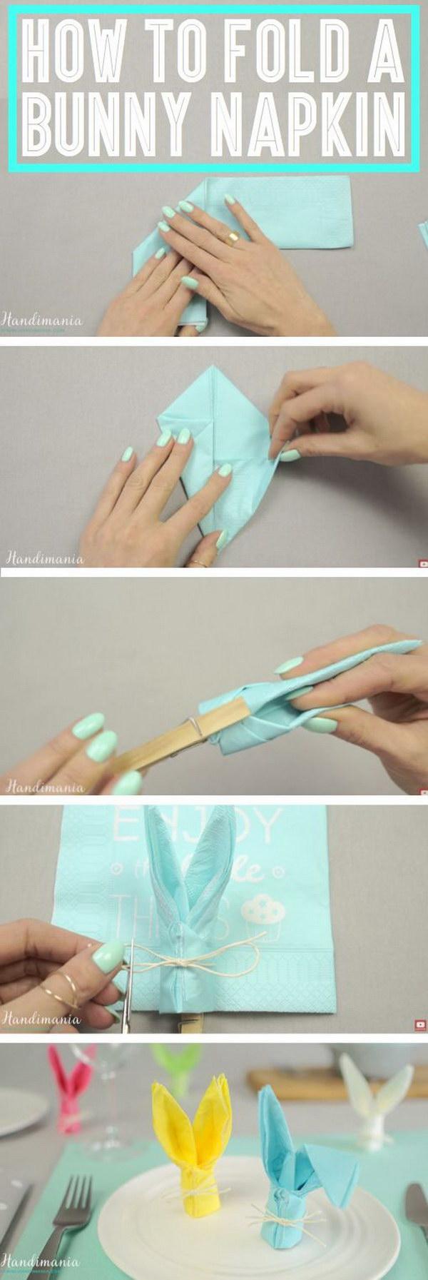 21 Bunny-shaped Napkin Decoration