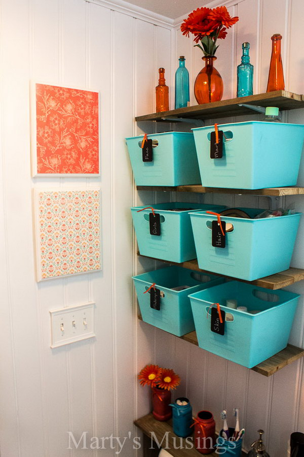 21 Dollar Store Blue Baskets With Chalkboard Tags