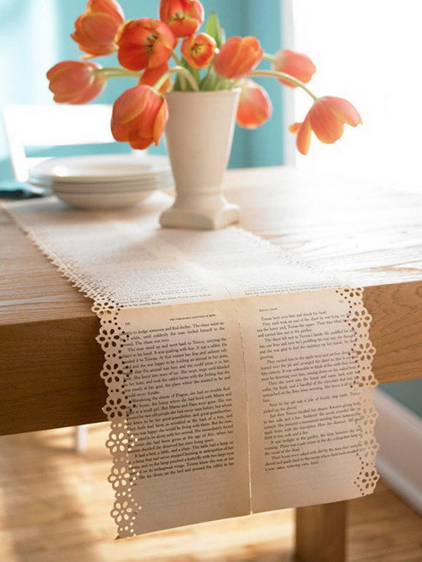 21 Vintage Old Book Pages Table Runners