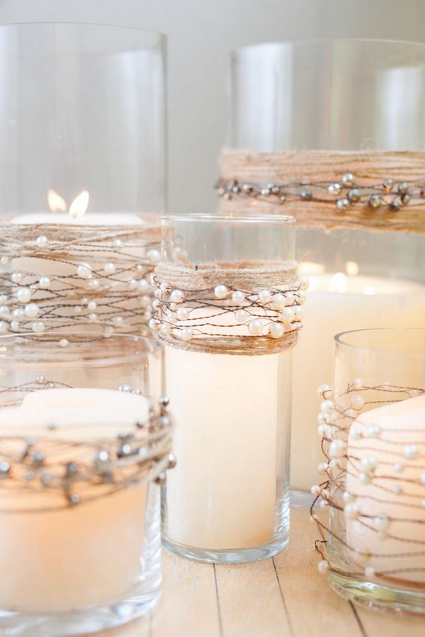 22 Pearl Beads On Wire Garland With Natural Jute Twine Wedding Centerpieces