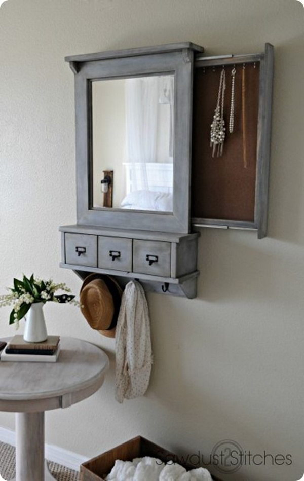 22 Pottery Barn Inspired Wall Mirror with Hidden Storage for Jewelry, Keys