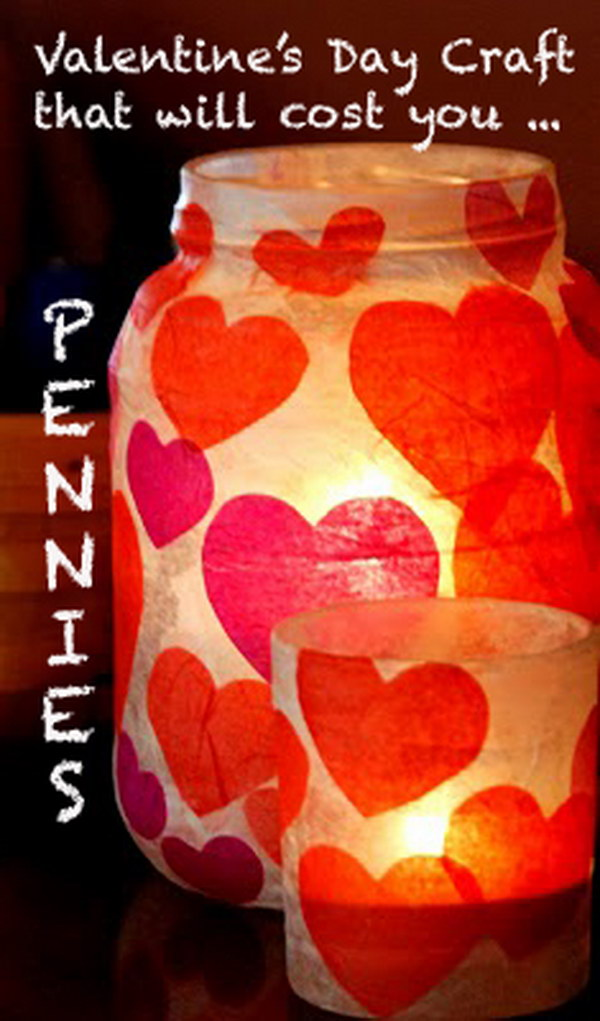 22 Valetine's Day Paper Mache Candle Jar