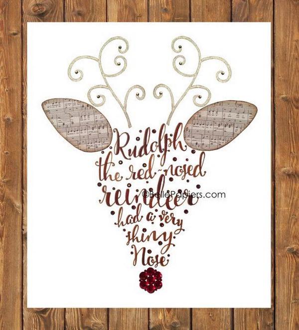 23 Calligraphy Rudolph Christmas Card