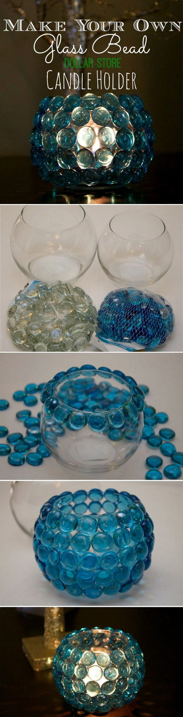 23 DIY Candle Holder Wedding Centerpieces With Glass Bead