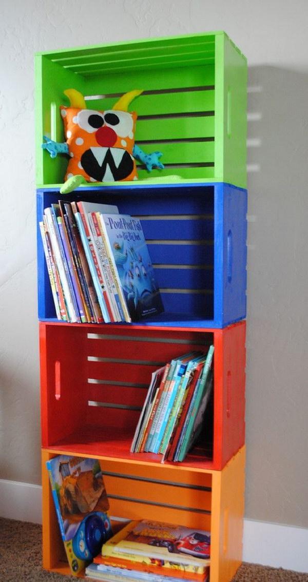 23 DIY Colorful Kids Crate Bookshelf