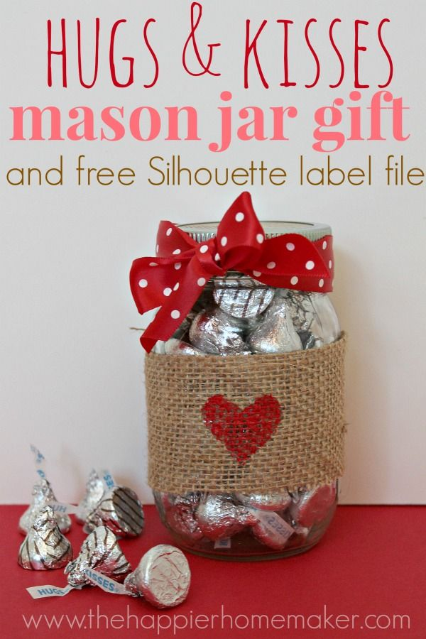 24 Hugs and Kisses in a Burlap Wrapped Mason Jar
