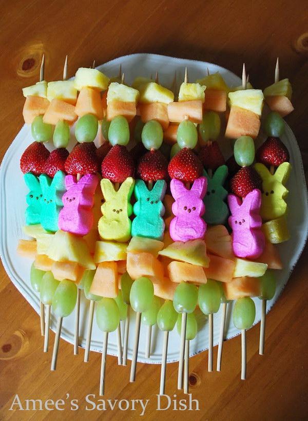 24 Peep Fruit Kabobs