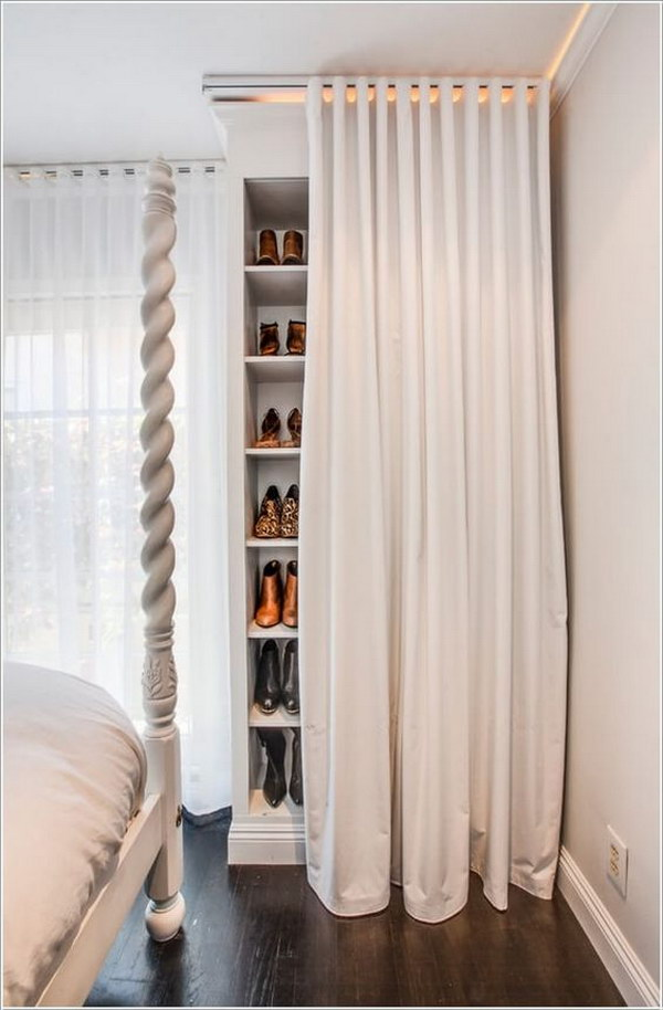 24 Shoe Storage Closet Behind a Curtain