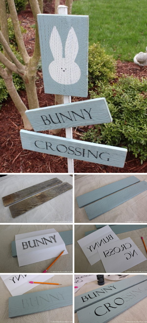 25 Bunny Crossing Sign from Fence Pickets
