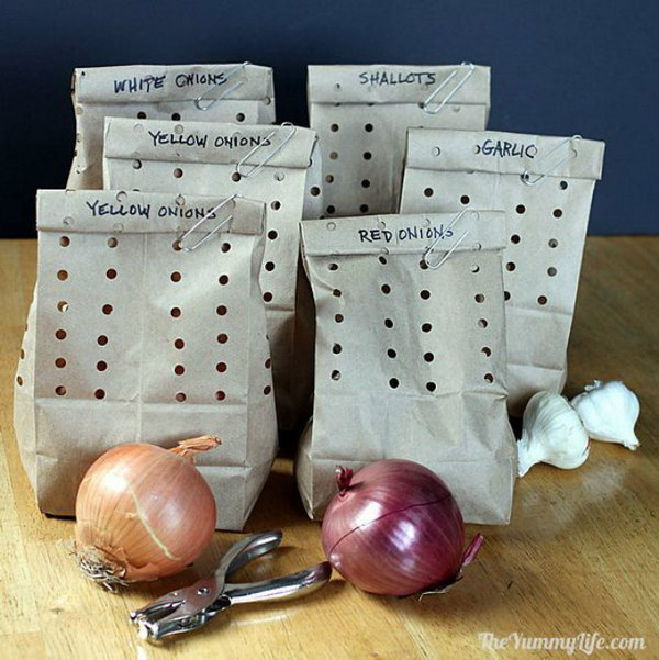 25 Hide Garlic and Onions in Holey Paper Bags