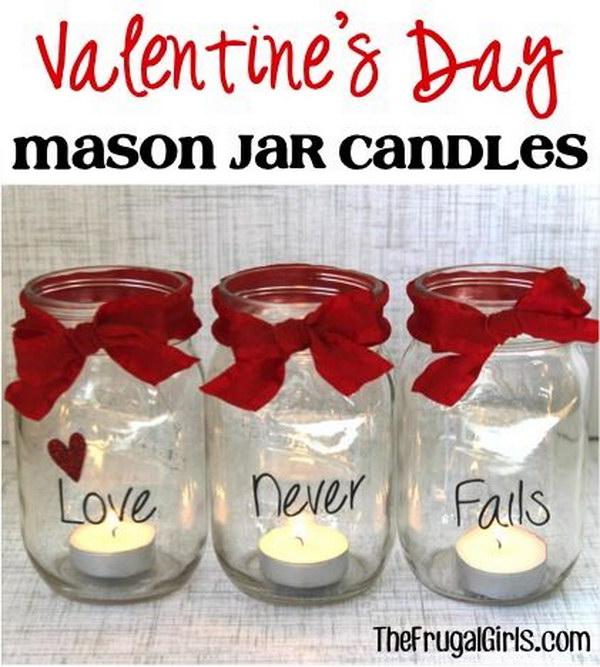 25 Valentine's Day Mason Jar Candles