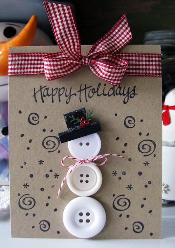 26 Button Snowman Christmas Card