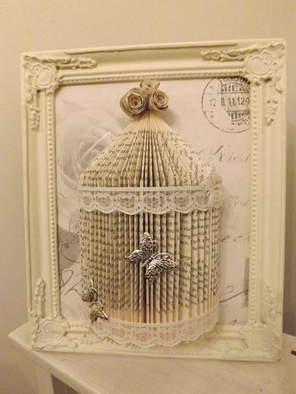 26 Shabby Chic Book Folding Bird Cage