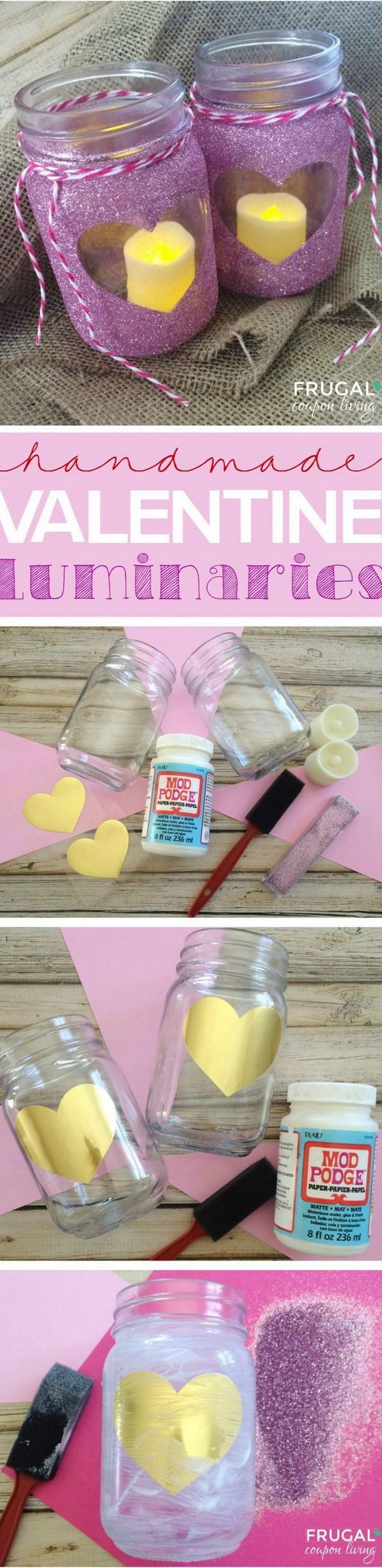 27 DIY Glitter Heart Mason Luminaries
