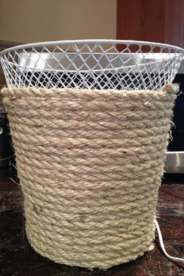 28 DIY Dollar Store Trash Can Makeover Using Rope