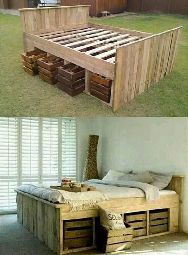 28 DIY Pallet Bed with Crates under That Can Pull out