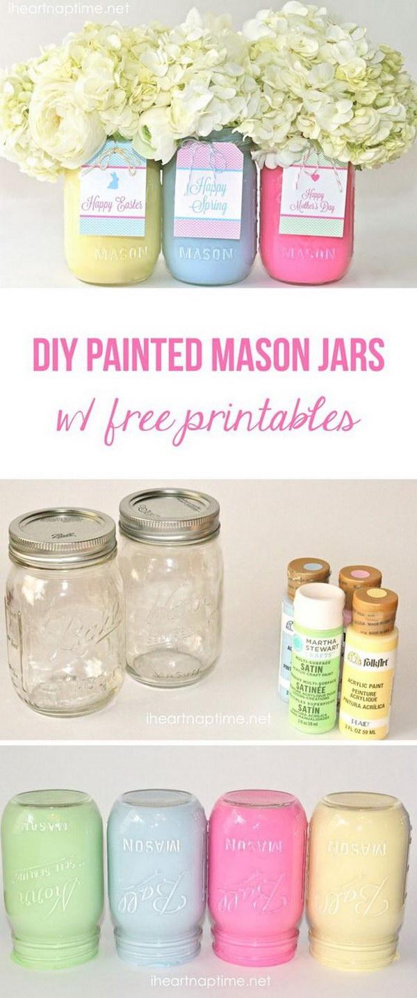 28 DIY Spring or Easter Mason Jars