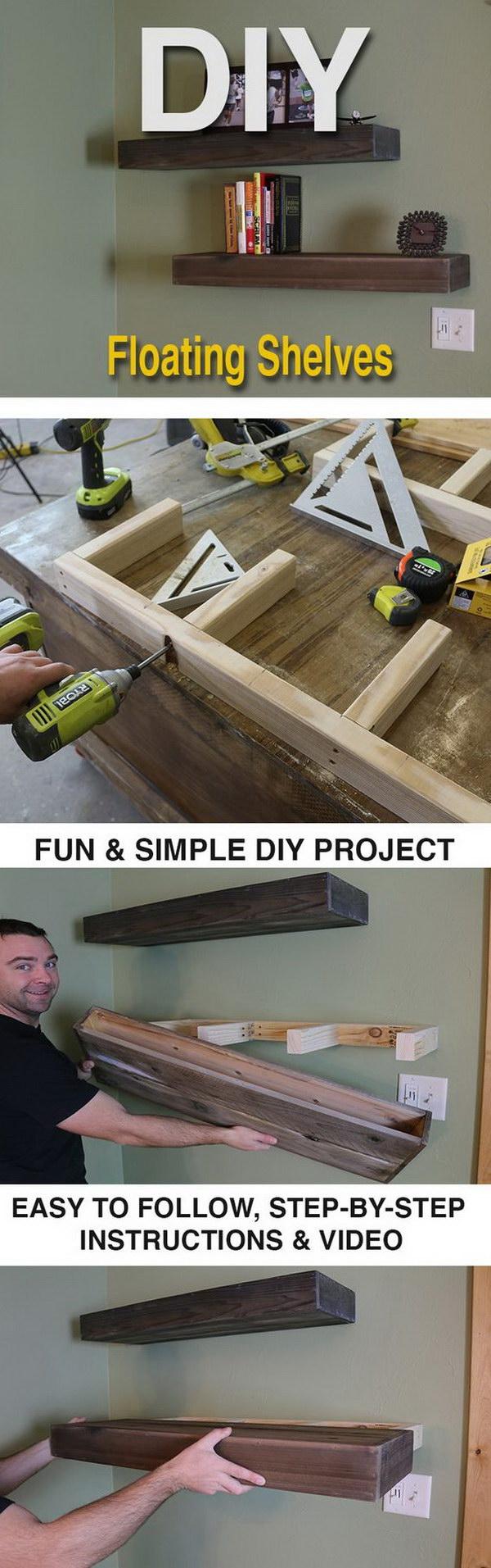 28 DIY Wood Floating Shelves