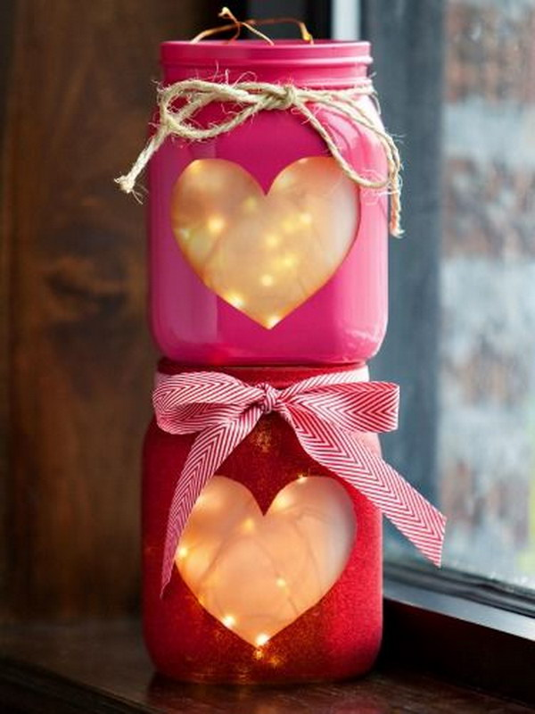 3 Beautiful  Heart Mason Jar  Lights