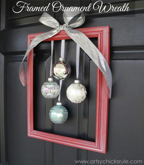 3 DIY Holiday Framed Ornament Wreath