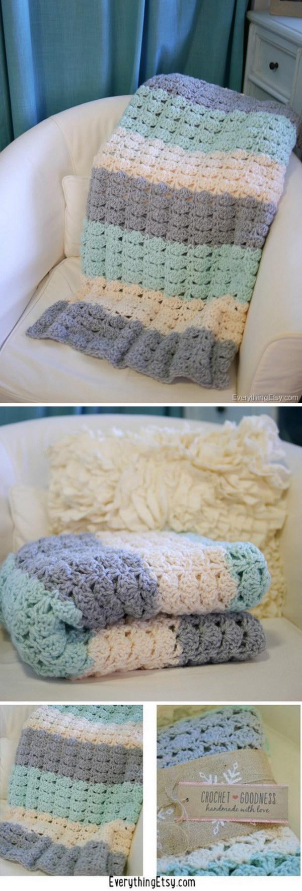 3 Easy Crochet Shell Stitch Blanket Pattern