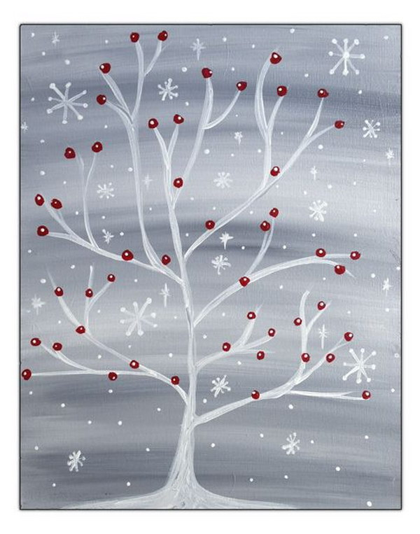 3 Winter Snowflake Tree with Red Cardinal