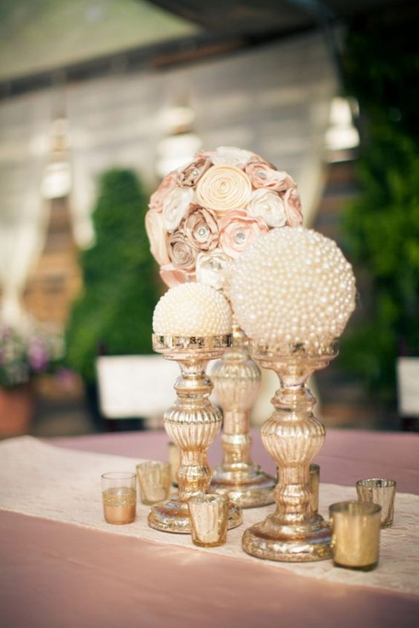 30 Paper Flowers And Pearl Globe Centerpieces
