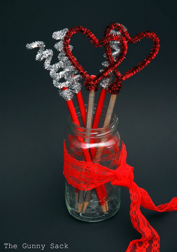 30 Valentines Day Pencil Toppers in a Mason Jar