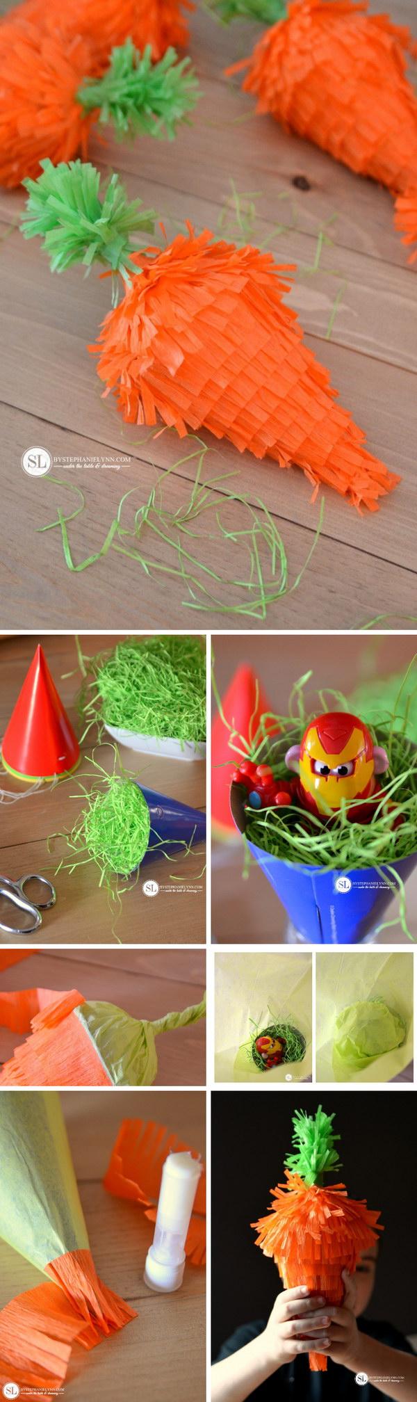 31 DIY Mini Easter Carrot Pinatas