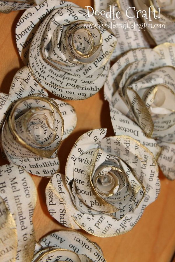 31 DIY Upcycled Book Page Rosettes