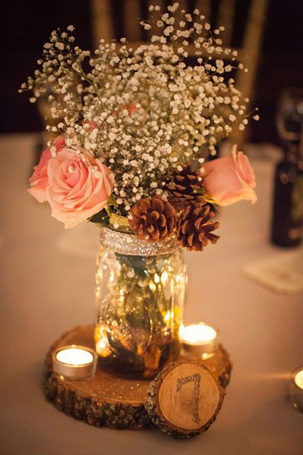 31 Stunning Rustic Mason Jar Centerpiece With Pine Cones, Candles And Wooden Table Number