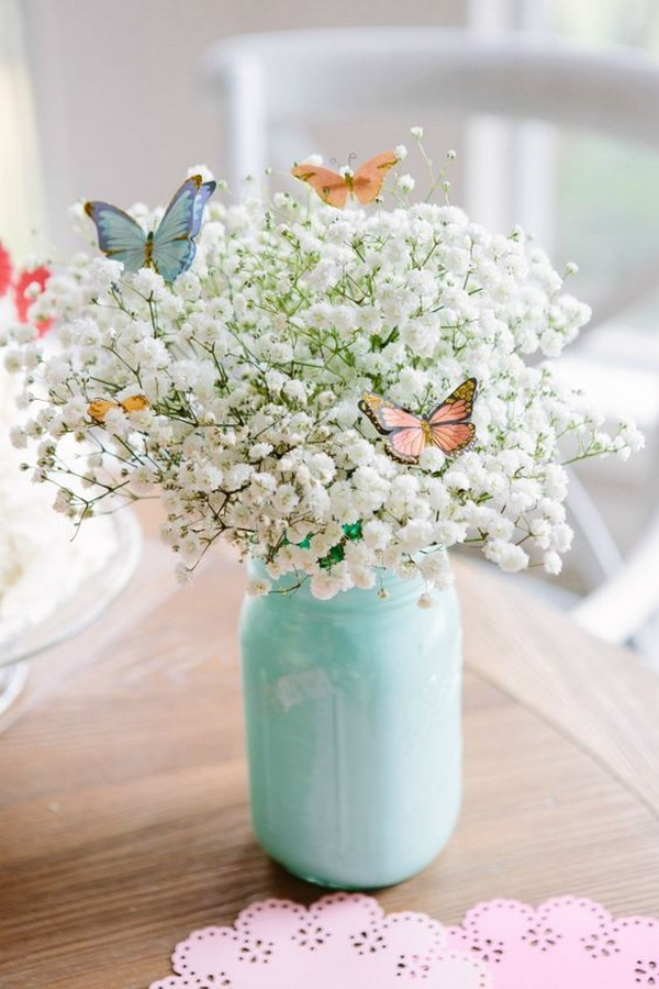 33 Beautiful Butterfly Bouquet Made out of a $3 Bunch of Baby's Breath and Butterfly Stickers